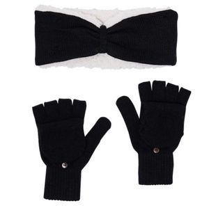 BearPaw Sherpa Headband and Pop-Top Glove Set
